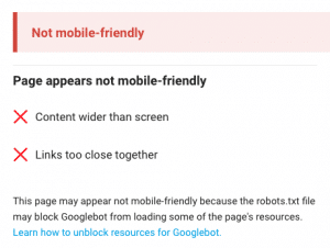 Example of Not Mobile Friendly